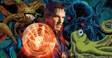benedict cumberbatch as doctor strange with shuma gorath chthon and gargantos monsters from marvel comics