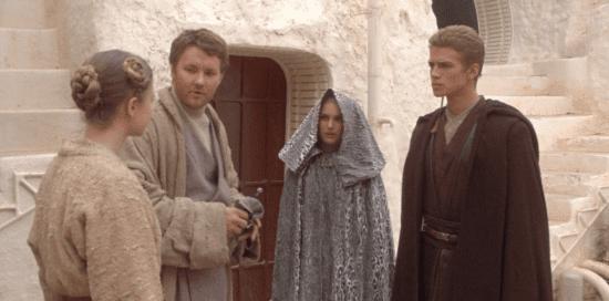 (l-r) beru lars, owen lars, padme amidala, and anakin skywalker in star wars prequels