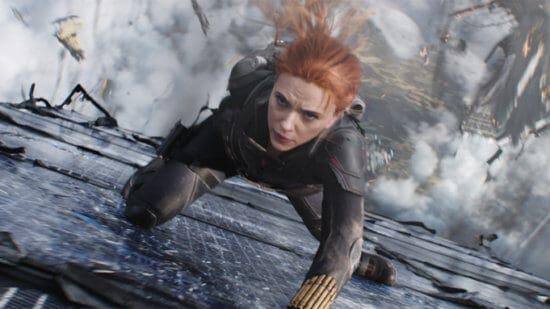 scarlett Johansson as black widow natasha falling