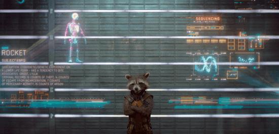 bradley cooper sean gunn as rocket raccoon in guardians of the galaxy scanned by nova corp