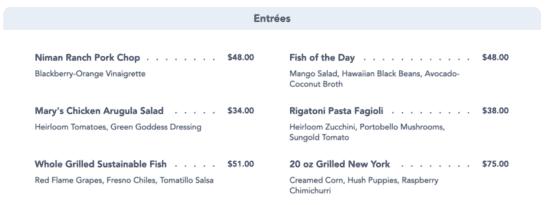carthay circle new entrees menu