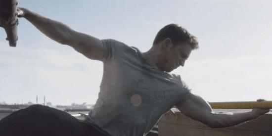 chris evans as steve rogers aka captain america in captain america civil war holding helicopter