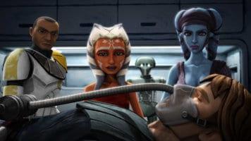 clone trooper, ahsoka tano, and aayla secura watch over injured anakin skywalker