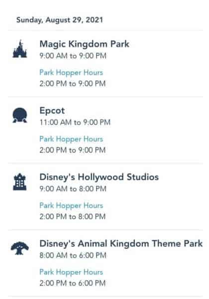 Disney World Park Hours August