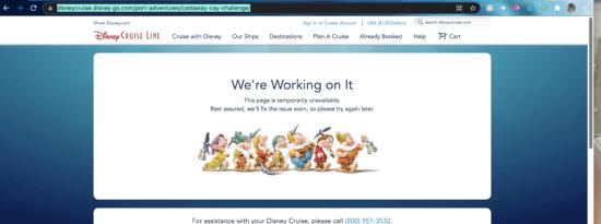 disney cruise line seven dwarfs 500 error page