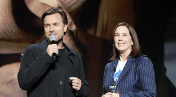 ewan mcgregor (left) and kathleen kennedy (right) at d23 expo