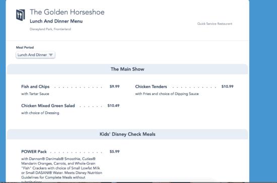 golden horseshoe menu