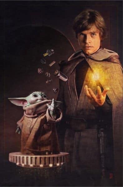 grogu and luke lightsaber poster