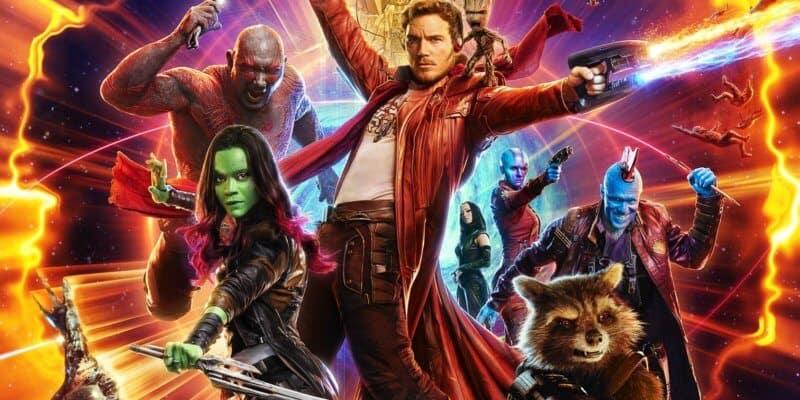 Guardians of the Galaxy Poster with Peter Quill aka Star-Lord (Chris Pratt), Drax the Destroyer (Dave Bautista), Gamora (Zoe Saldana), and Mantis (Pom Klementieff). Rocket Raccoon (Bradley Cooper) Nebula (Karen Gillan), Groot (Vin Diesel)