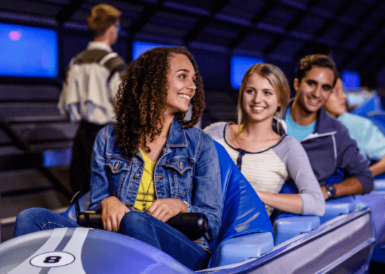 guests on space mountain at disney world