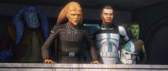 (L-R) orn free taa, cham syndulla, clone trooper howzer, eleni syndulla