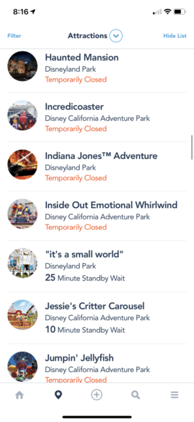 Disneyland Rides Down