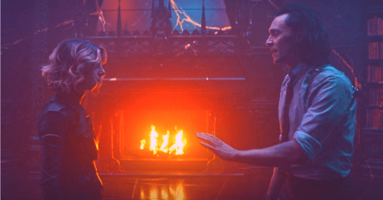 (left) Sophia di Martino as Sylvie and (right) Tom Hiddleston as Loki in season 1 finale