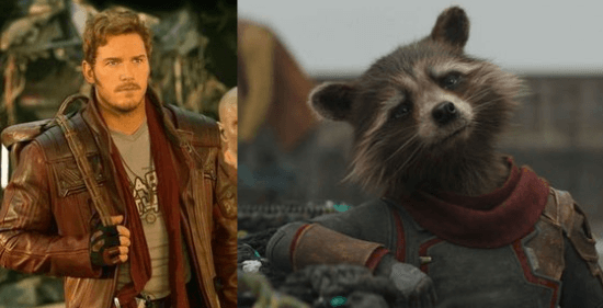 left chris pratt as peter quill aka star lord in guardians of the galaxy and right bradley cooper sean gunn as rocket raccoon in avengers endgame wearing red scarf