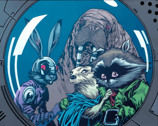 marvel comics halfworlders blackjack o'hare, lylla, wal rus and rocket raccoon guardians of the galaxy
