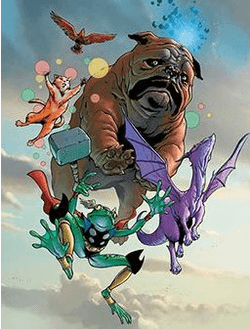 marvel comics pet avengers top to bottom red wing lockjaw hairball lockheed and throg