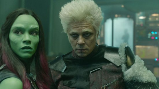 left, Gamora, right, The Collector