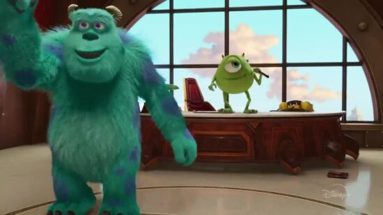 monsters at work, sulley left, mike, right