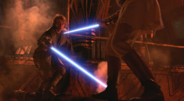 obi wan kenobi (right) and anakin skywalker (left) lightsaber duel on mustafar