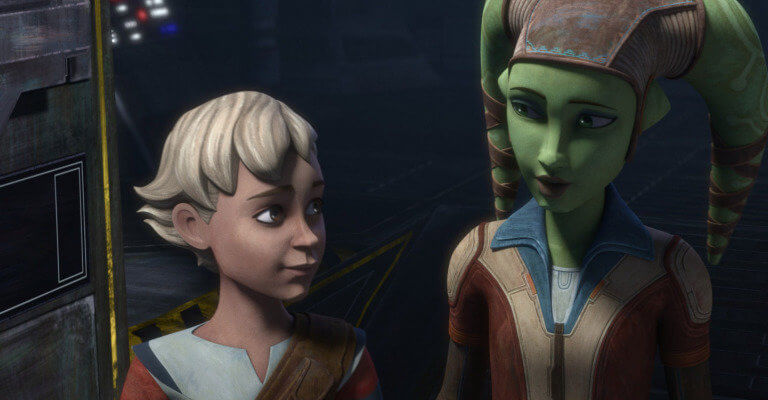 (L-R) omega and hera syndulla in star wars the bad batch episode 12