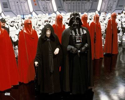 palpatine (left) and darth vader (right) with stormtroopers in return of the jedi