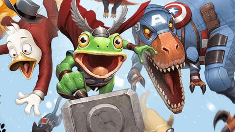 pet avengers from avengers assembled game throg howard the duck dinosaur captain america