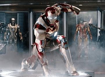 robert downing jr as tony stark aka iron man superhero landing in iron man 2