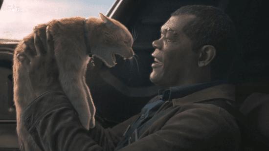 samuel l jackson as nick fury in captain marvel with goose the flerken cat