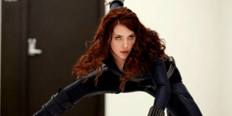 scarlet johansson as natasha romanoff aka black widow superhero pose in iron man 2