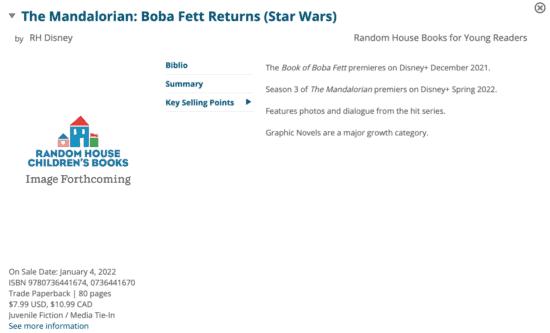 screenshot of mandalorian book description edelweiss catalogue