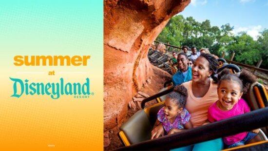 summer at disneyland resort graphic with family riding big thunder mountain railroad