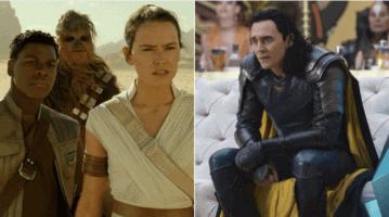 star wars sequels chewbacca, finn, rey (left) and tom hiddleston as loki (right)