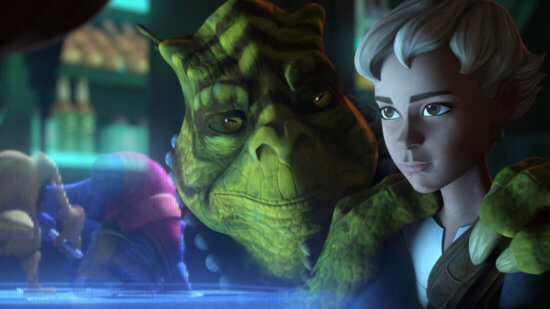 star wars the bad batch episode 10 cid (left) and omega (right)