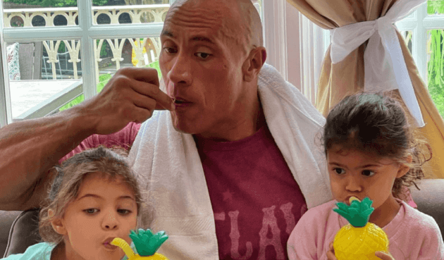 the rock eating breakfast with daughters