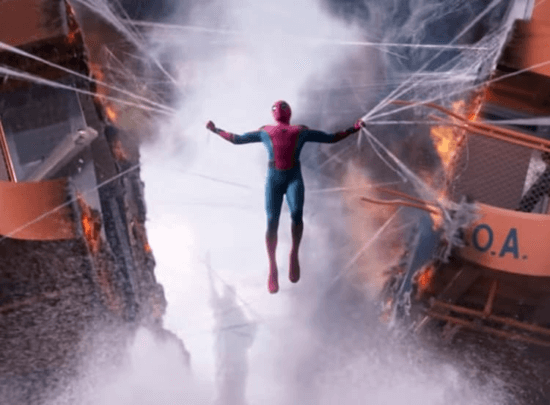 tom holland as peter parker aka spider-man in homecoming ferry scene superhero hold pose