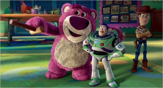 toy story 3 (l-r) lotso bear, buzz lightyear, and woody