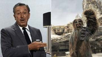 walt disney with carousel of progress model (left) and chewbacca at star wars galaxy's edge (right)