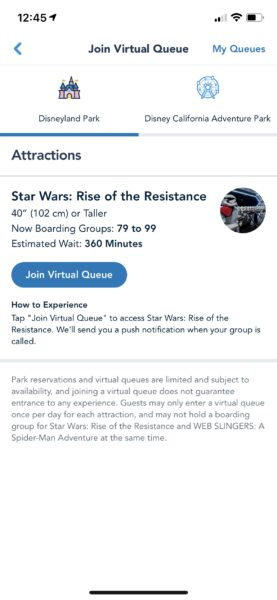 Boarding groups within the disneyland app