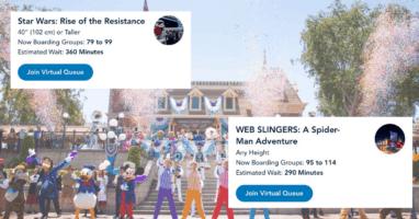 Disneyland dapper dans on Main Street train station (background) disneyland app boarding groups (foreground)