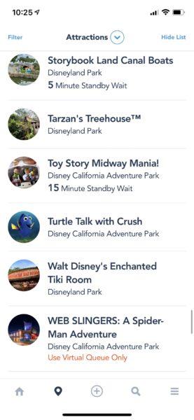 Disneyland resort attraction wait times