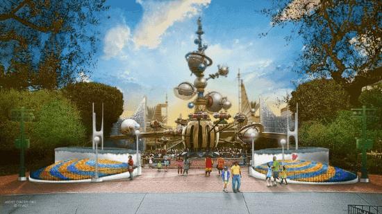 Concept art for Tomorrowland entrance reimagining at disneyland