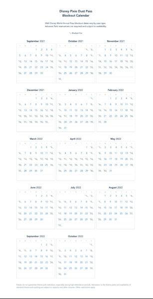 Disney pixie dust pass blockout calendar