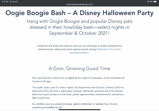 oogie boogie bash sold out