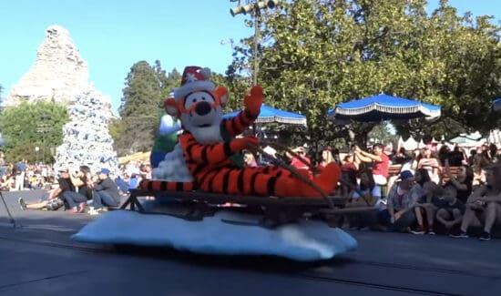 Tigger in a Christmas fantasy parade at disneyland