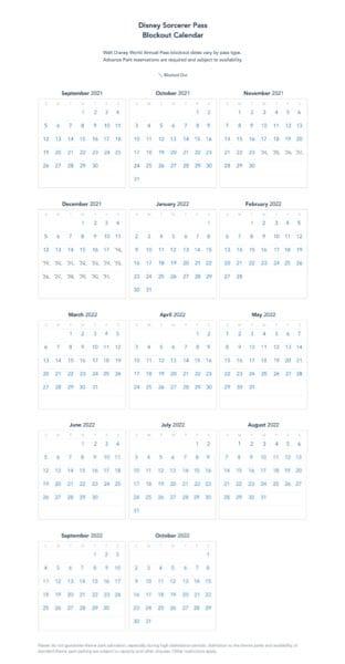 disney sorcerer pass blockout calendar