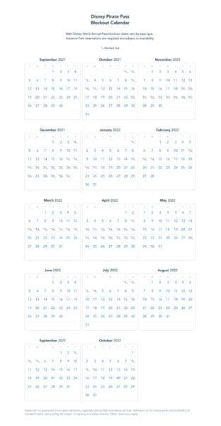 disney pirate pass blockout calendar