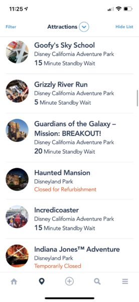 Attraction wait times on the disneyland app
