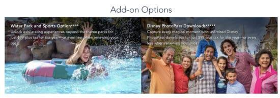 disney world annual pass add on options