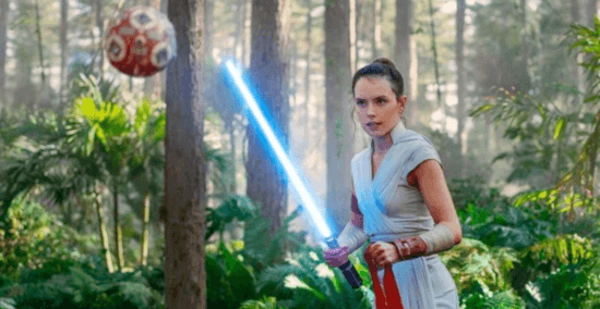 rey doing jedi training on ahch-to