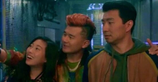 Awkwafina as Katy (left) Ronny Chieng as Jon Jon (center) Simu Liu as Shang-Chi in Shang Chi and the Legend of the Ten Rings Marvel